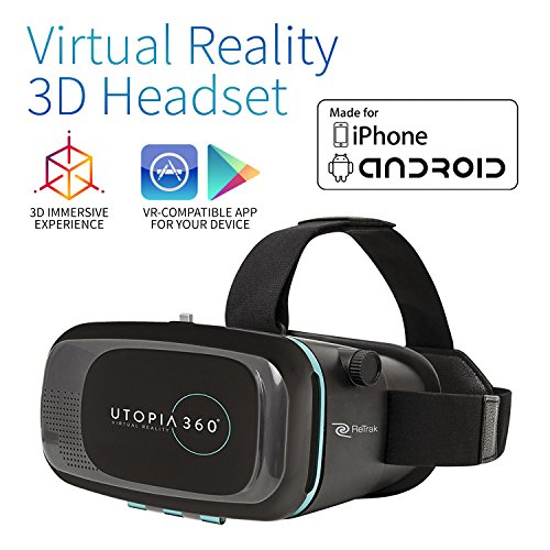 Utopia 360° VR Headset | 3D Virtual Reality Headset for VR Games, 3D Movies, and VR Apps – Compatible with iPhone and Android Smartphones