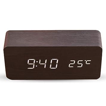 Haofy Despertador Digital, Reloj Despertador de Madera Electrónico con 3 Niveles Brillo y LED de Pantalla para Dormitorio (Negro y Blanco): Amazon.es: Hogar