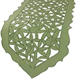 Xia Home Fashions Tulip Bouquet Embroidered Cutwork Spring Table Runner, 15 by 54-Inch, Green