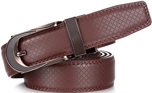 Marino Men's Genuine Leather Ratchet Dress Belt with Open Linxx Leather Buckle, Enclosed in an Elegant Gift Box