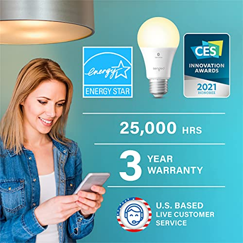 Sengled Alexa Light Bulb, Bluetooth Mesh Smart Light Bulbs, Smart Bulbs That Work with Alexa Only, Dimmable LED Bulb E26 A19, 60W Equivalent Soft White 800LM, Certified for Humans Device, 4 Pack