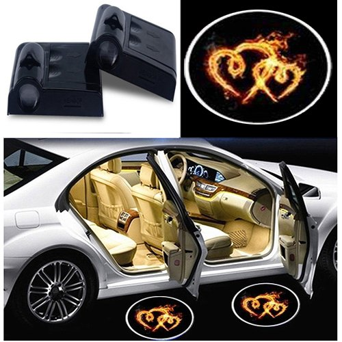 TaiFuMaoYi Car Door LED Lighting Entry Laser Ghost Shadow Projector Welcome Lamp 2pcs - Two hearts (Logo Heart)
