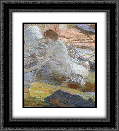Woman Wiping Her Feet 2x Matted 20x22 Black Ornate Framed Art Print by Degas, Edgar (Her Feet Woman Wiping)