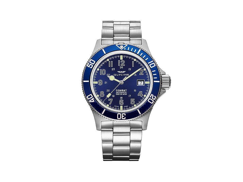 Amazon.com: Glycine Combat Sub Automatic Watch, GL 224, Grey ...