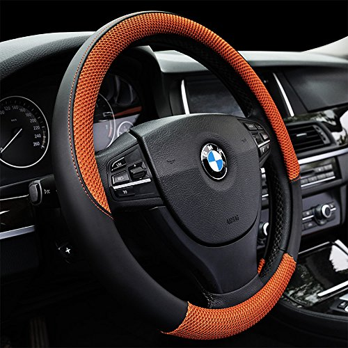 (Auto Car Steering Wheel Cover Anti-slip Microfiber Leather with Viscose Universal 15