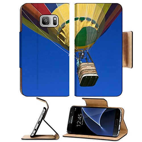Liili Premium Samsung Galaxy S7 Flip Pu Leather Wallet Case Colorful hot air balloon ascending into blue sky Photo 1851569 Simple Snap Carrying