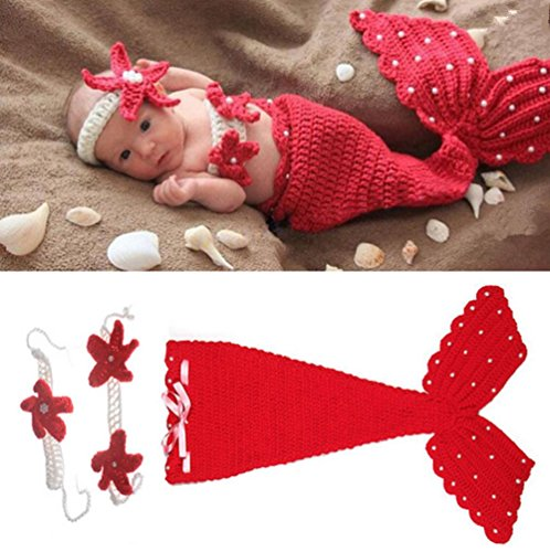Oliviabeauty Newborn Baby Girl Boy Cute Knit Hat Costume Photography Prop Outfit Set (Cute Mermaid Costume)