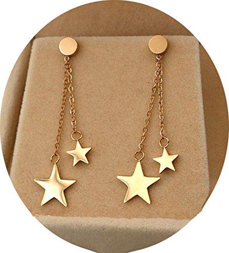 Titanium Steel Rose Gold Plated Shining Lucky Star Tassel Tiny Dot Ear Stud Dangle Earrings Dangling Star Earrings
