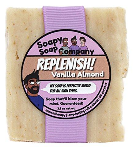 Soapy Soap Company Replenish! - Vanilla Almond Bar Soap with Colloidal Oatmeal, 3.5 Ounce