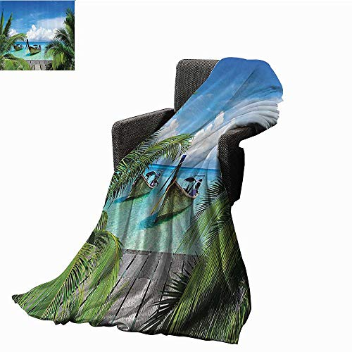 Tropical Decor Collection Reversible Blanket Beach and Tropical Sea Wooden Deck Floating Boats Sunshine Honeypot Picture Print All Season Light Weight Living Room 51