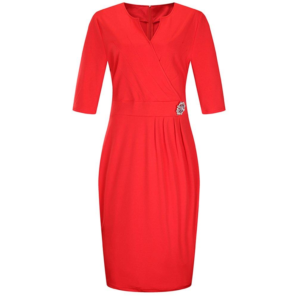 BaronHong Women's Plus Größe Sommer Kurzarm Sexy Kleider Falten A-Linie Kleid