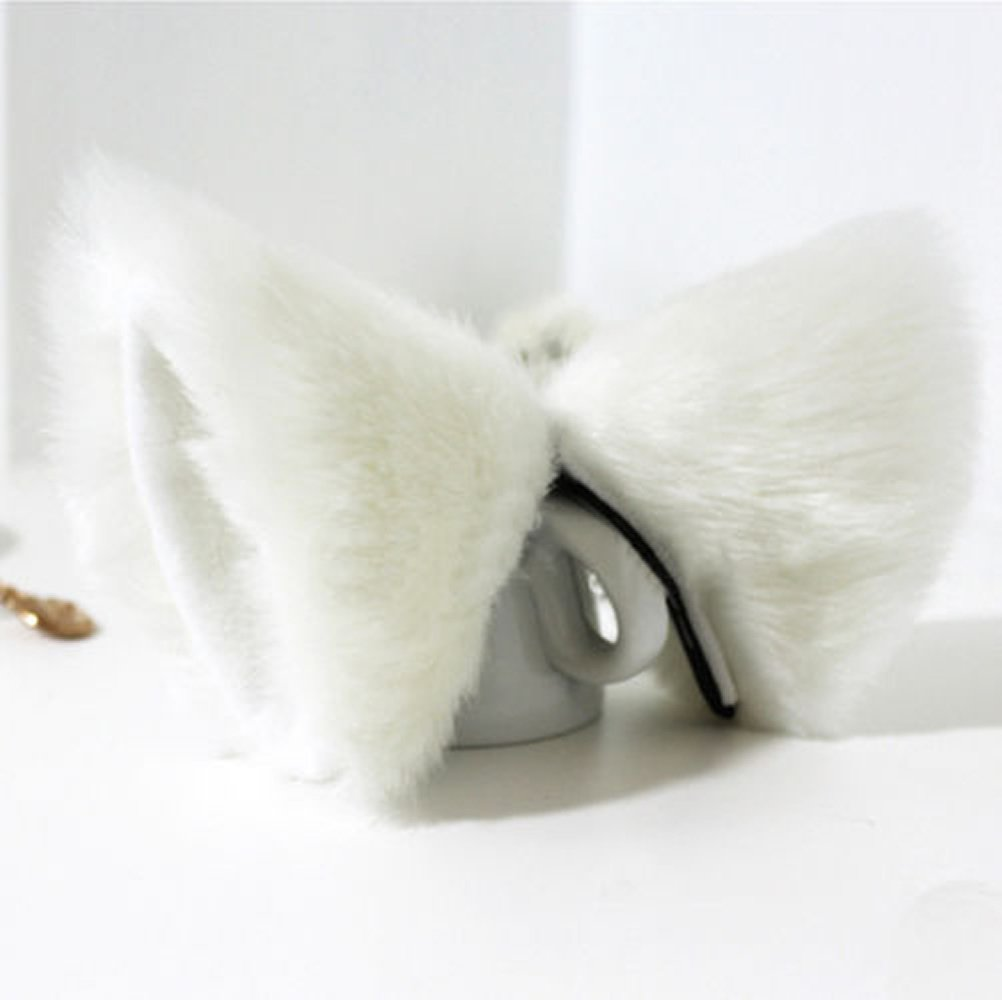 Orecchiette Party's Fur Ears Anime Neko Costume Hair Clip Cosplay Accessories (White&White) by MEXUD Cat Fox Fur Ears (Image #1)