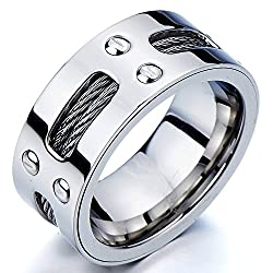 Man¡¯s Stainless Steel Ring Wedding Band with Steel Cables and Screws 10mm