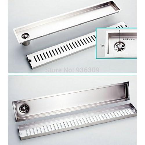 100x10CM SUS 304 Stainless Steel Nickel Side Pipe Waste Drain Deodorization Type Bathroom Shower Room Rectangle Floor Drain zx28,Black,Cool White(5500-7000K) #542 durable service
