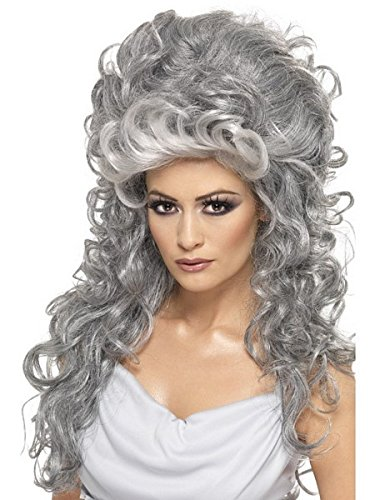 Smiffys Women's Long and Curly Grey Beehive Wig, One Size, Medeia Witch Beehive Wig,  5020570356845