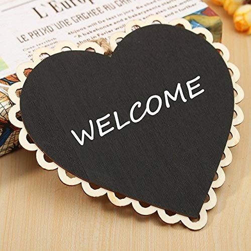 Plaques & Signs - Heart Round Shaped Hanging Wooden Blackboard Chalkboard Word Pad Message Board Rope Wedding - Party Wedding Supply Lf501em4f Supplies Board