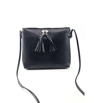 Oyedens Women Shoulder Bags Fashion Tassel Bag Ladies Small Messenger  Crossbody Bag Zipper Handbags (Black 6008f7410dedc