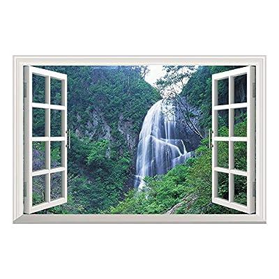 Grand Waterfall Green Mountain Open Window Mural Wall Sticker - 36