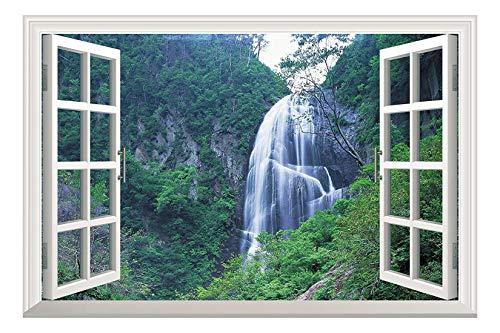 wall26 Grand Waterfall Green Mountain Open Window Mural Wall Sticker - 36