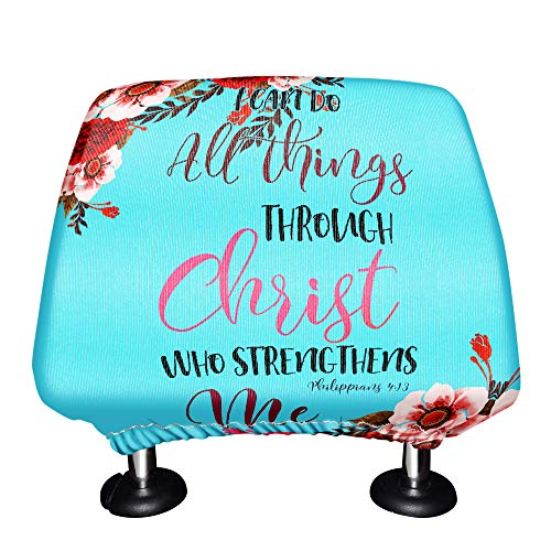 WIRESTER Car Seat Head Rest Cover, Protective Fabric Design Cover Decoration for All Cars - Christian Bible Verses Philippians 4:13