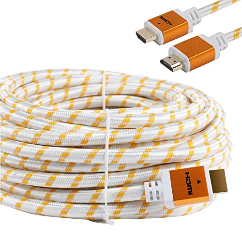 CableVantage 30feet HDMI Cable 30 FEET, V1.4 Ultra-High Speed Supports Ethernet Audio Return (ARC), Bandwidth up to 18Gbps, 3D HD 1080p Ready, 30ft Braided Nylon Cable Cord Gold Plated White