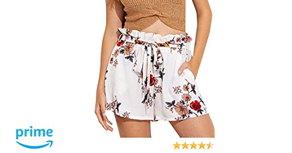 4cd42a252a Women Shorts Floral Print Casual Belt Loose Hot Pants Ladies Summer Beach  Trousers Lounge Loose for Beach | Amazon.com