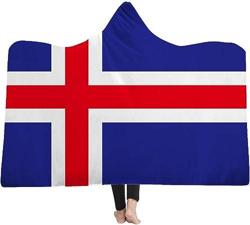 DOTBUY Manta con Capucha, Bandera Nacional 150 x 200 cm Niños y Adultos Microfiber Manta Capa Gruesa y cálida Capa cómoda y cómoda colchoneta de Felpa. (150 x 200 cm, Islandia): Amazon.es: Hogar