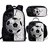 Coloranimal Backpack Sets for Teenager Girls Boys 3D Soccer Ball Printing School Book Bag with Thermal Insulated Lunch Tote Pouch Pencil Stationery Pen Holders 3 Piece