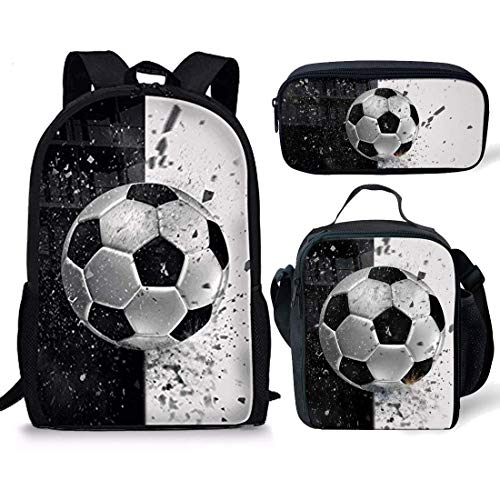 Coloranimal Backpack Sets for Teenager Girls Boys 3D Soccer Ball Printing School Book Bag with Thermal Insulated Lunch Tote Pouch Pencil Stationery Pen Holders 3 Piece by Coloranimal