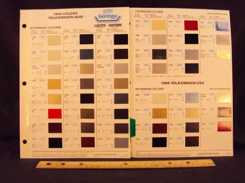 (1986 86 VOLKSWAGEN / VW Cabrolet, Jetta, Quantum, Scirocco, Vanwagon, & AUDI 4000S, 5000S, Coupe GT Paint Colors Chip Page)