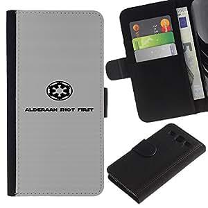 MobileX / Samsung Galaxy S3 III I9300 / Galactic Empire - Alderaan / Cuero PU Delgado caso Billetera cubierta Shell Armor Funda Case Cover Wallet Credit Card