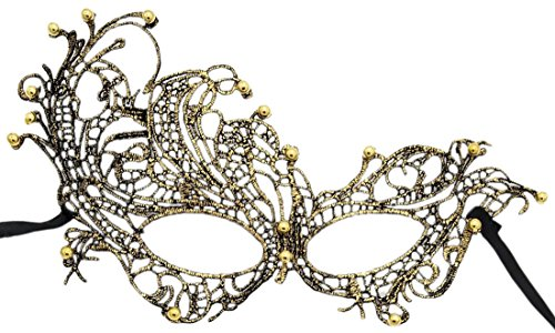 Lace Masquerade Ball Mask Venetian Swan Mardi Gras Halloween Costume Party Mask (A Gold Swan with Beads Decoration)