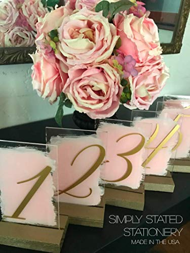 Blush Pink Table Numbers With Dark Wood Base or Gold wood base - Order in Custom Amount - Multiple Color Options ()