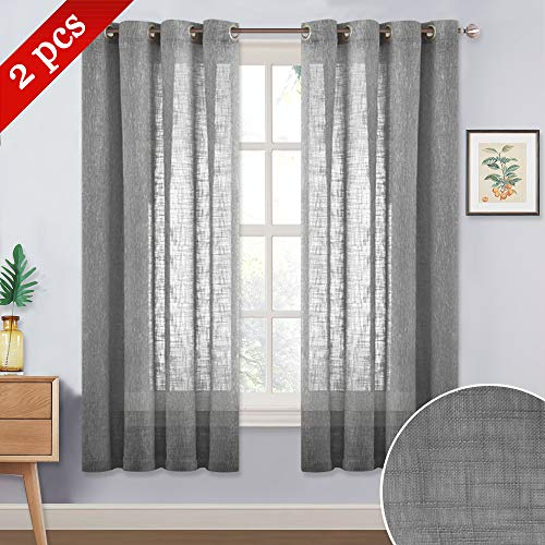 (NICETOWN Natural Linen Textured Sheer - Short Grommet Top Voile Curtains Panels Harf Window/Kitchen/Nursery/Cafe (Dark Gray, 1 Panel = 52