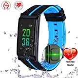 ONSTON Bluetooth Smart Watch Band Heart Rate Monitor Color Touch Screen Wristband Bracelet Fitness Tracker Pedometer Pulseria Inteligente (Blue)