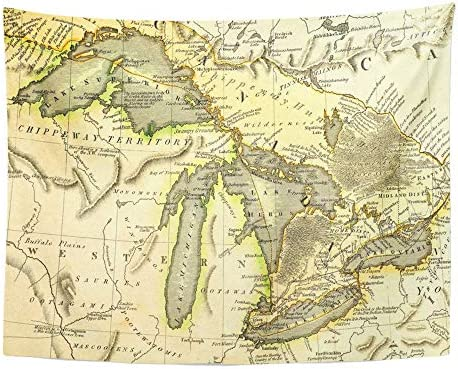 Emvency Tapestry Wall Hanging Michigan Early Map of The Great Lakes Printed in Bordeaux France 1795 Ontario 60 x 80 Home Decor Art Tapestries for Bedroom Living Room Dorm Apartment