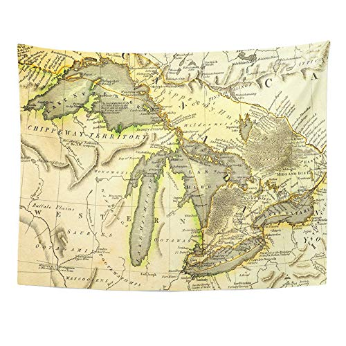 (Emvency Tapestry Wall Hanging Michigan Early Map of The Great Lakes Printed in Bordeaux France 1795 Ontario 50