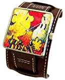 """""""Snoopy By Everhart"""" Featuring Tom Everhart's Image of Snoopy in """"Dog Breath"""" on the Dial of the Stainless Steel Cuff Watch with Wide Brown Leather Strap"""