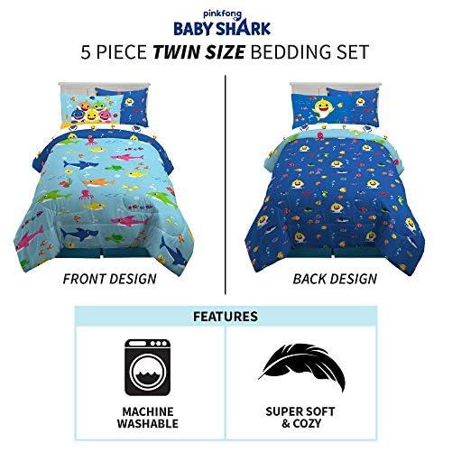 Franco Kids Bedding Super Soft Comforter and Sheet Set with Bonus Sham, 5 Piece Twin Size, Baby Shark 3