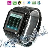W818 Black, Fashion Stainless Steel Waterproof Watch Mobile Phone, Bluetooth / FM / Java / MSN Touch Screen Watch Mobile phone, Single SIM Card, Dual band, Network: GSM 900 / 1800MHZ