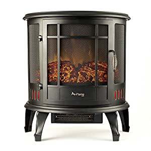 Regal Portable Electric Fireplace Stove by e-Flame USA (Matte Black) - This 25-inch Tall Freestanding Fireplace Features Heater and Fan Settings with Realistic and Brightly Burning Fire and Logs