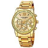 Akribos XXIV Men's AK865YG Round Yellow Gold Dial Chronograph Quartz Gold Tone Bracelet Watch