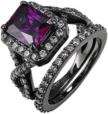 D.B.MOOD Size 6-10 Gorgeous Amazing Purple Amethyst Black Gun Plated Ring with White Crystal