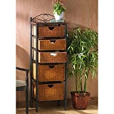 Black Steel Finish Wicker 5-drawer Storage Unit