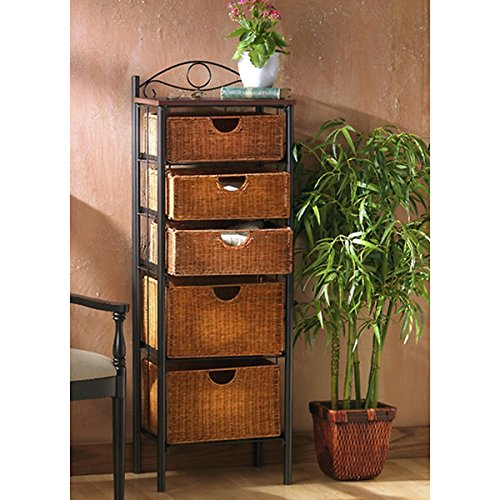 Black Steel Finish Wicker 5-drawer Storage Unit (Wicker Shelf Unit)