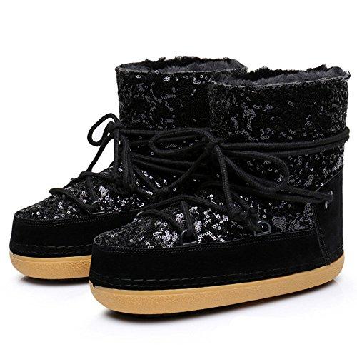 Winter Warm Velvet Sequins Sleeve Short Shoes Ski Space Boots Black