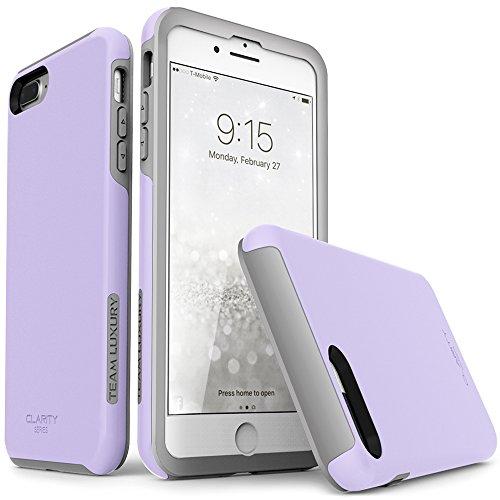 iPhone 7 Plus case, iPhone 8 Plus case, TEAM LUXURY [Clarity Series] Ultra Defender TPU + PC Shock Absorbent Slim-fit Premium Protective Case - for Apple iPhone 7 & 8 Plus (Pale Lavender/ Gray)