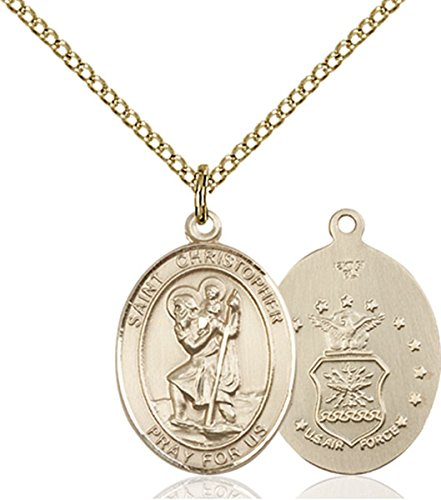14K Gold Filled Saint Christopher Air Force Military Medal Pendant, 3/4 Inch