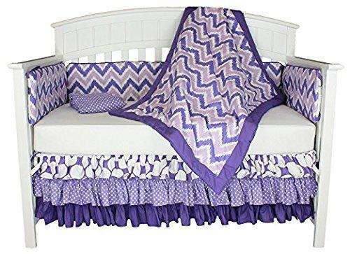 Bacati Dots and Chevron 8-in-1 Cotton Baby Bedding Bumper Purple [並行輸入品]   B07J64XKLN