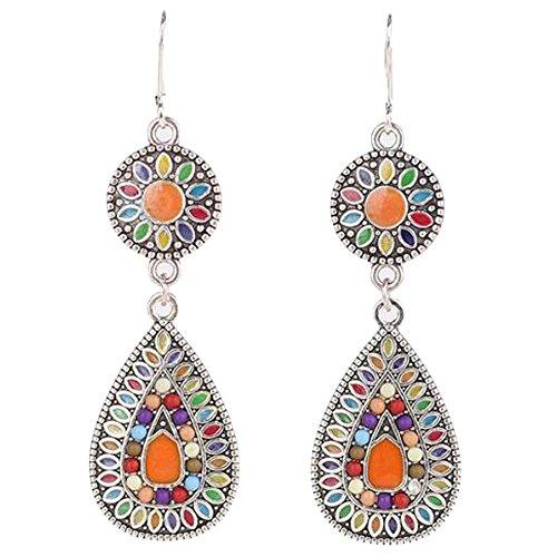 - Women's Vintage Colorful Fashion Drop Bohemian Retro Ethnic Long Drop Dangle Earrings